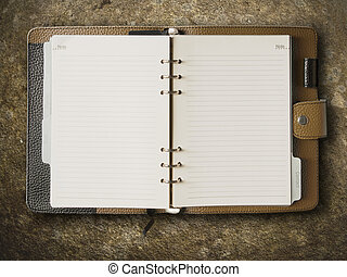 brun, läder, täcka, bindemedel, anteckningsbok, svart