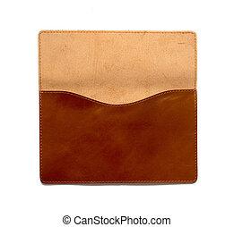 brun, læder, clutch, bag, på, en, hvid baggrund