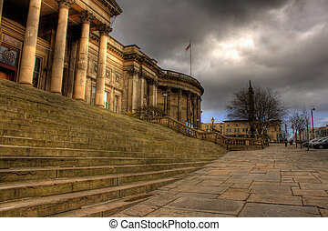 brun, liverpool, central, hdr, rue, image, bibliothèque, william, liverpool, angleterre