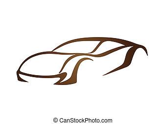 brun, logo, i, automobil