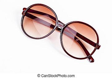 brun, lunettes soleil, isolé, white.