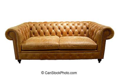brun, luxueux, isolé, sofa