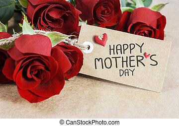 brun, mères, roses, carte papier, jour, rouges