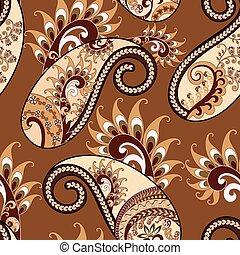 brun, mönster, bakgrund, prydnad, seamless, etnisk, paisley