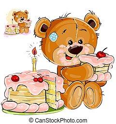 brun, manger, teddy, doux, illustration, dent, vecteur, ours, gâteau, anniversaire, morceau