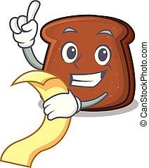 brun, mascotte, pain, dessin animé, menu
