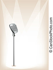 brun, mikrofon, retro, bakgrund, arrangera
