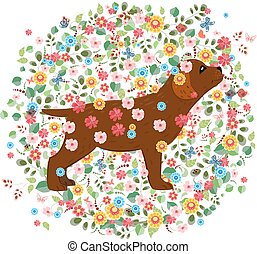 brun, modèle, chien, rond, conception, floral, ton