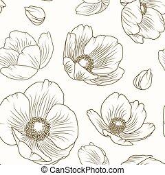 brun, modèle, ellébore, texture, beige, floral, pavot