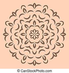 brun, modèle fleur, arrière-plan beige, rond