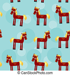 brun, modèle, rigolote, crinière, cheval, jaune, seamless, mignon