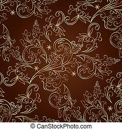 brun, modèle, seamless, fond, vendange, floral