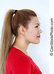 brun, mode, hairstyle., skønhed, sunde, glatte, langt hår, pige, model, ponytail