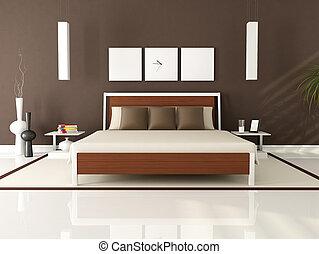 brun, moderne, chambre à coucher