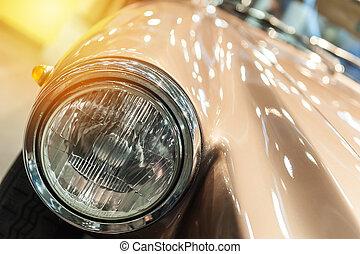 brun, närbild, bil, årgång