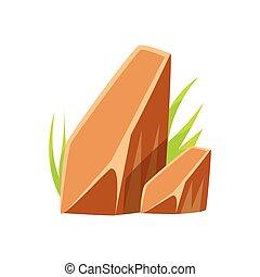brun, naturel, minéral, lisser, illustration, rochers, environnement, vecteur, pierres