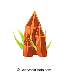 brun, naturel, minéral, pointu, illustration, rochers, environnement, vecteur, pierres