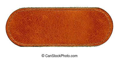 brun, naturlig, läder, stor, jeans, isolerat, högt, etikett, bakgrund, tom, grungy, vit, detaljerad, storlek