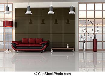 brun, noir, salle, rouges, vivant