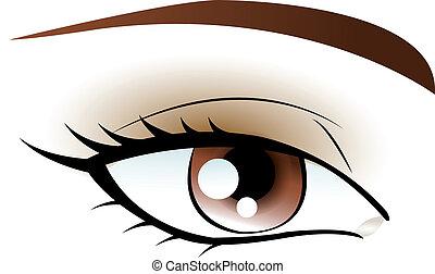 brun, oeil