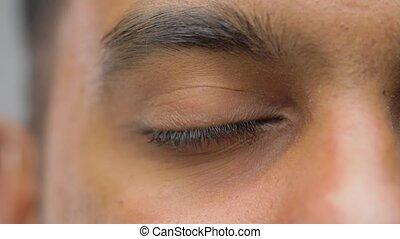 brun, oeil, iris, haut, asiatique, fin, mâle, sud