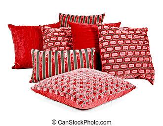 brun, oreillers, combinaison, fond, blanc rouge