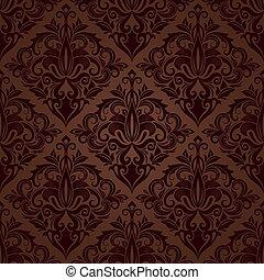 brun, papier peint, pattern., seamless, vecteur, floral