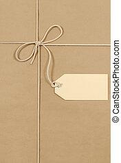 brun, paquet, étiquette, grand, coton, ficelle, crème
