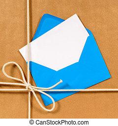 brun, paquet, bleu, papier, enveloppe
