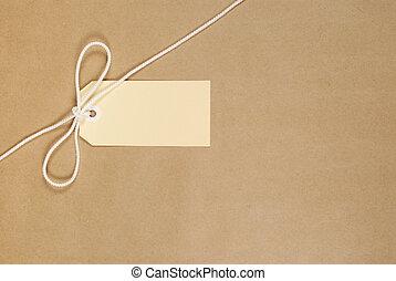 brun, paquet, ficelle, étiquette
