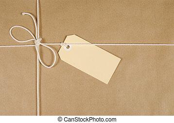 brun, paquet, ficelle