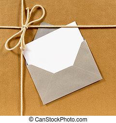 brun, paquet, papier, argent, enveloppe