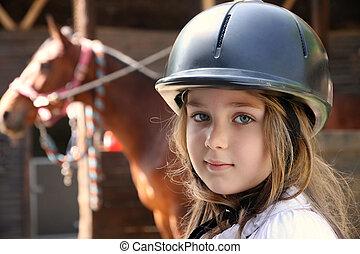 brun, peu, cheval, girl