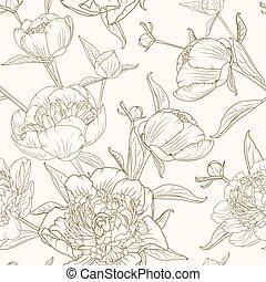 brun, pivoine, modèle, sépia, seamless, beige, fleurs