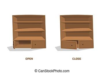 brun, placard, image, isolé, style., vieux, intérieur, maison, dessin animé, cabinet.
