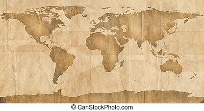 brun, planisphère, papier