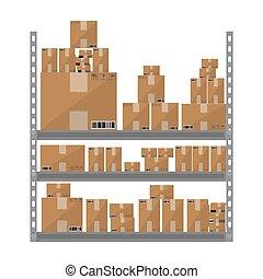 brun, plat, étagères, isolé, illustration, boxes., vecteur, conception, entrepôt, fond, partie, métallique, blanc, dessin animé