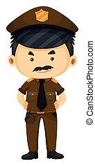 brun, policier, uniforme
