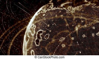brun, réseau, -, animation, version, croissant, mondiale, travers, 3d