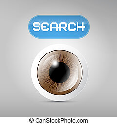 brun, recherche, oeil, bouton, gris, vecteur, fond