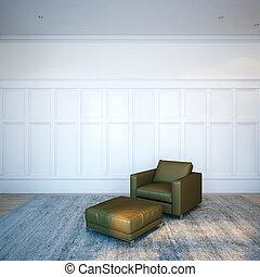brun, render, classique, cuir, salon, interior., chaise, blanc, 3d