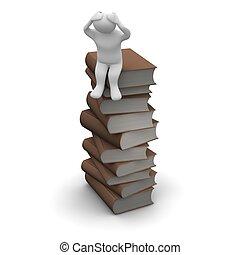 brun, rendu, illustration., séance, books., élevé, livre cartonné, homme, frustré, pile, 3d