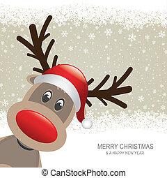 brun, renne, fond, chapeau, flocon de neige, rouges