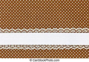 brun, retro, pois, textile, fond, à, ruban