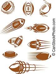 brun, rugby, et, football, sport, icônes
