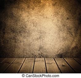 brun, rum, vägg, årgång, strukturerad, inre