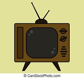 brun, sätta, gammal, tv, bakgrund., retro, beige