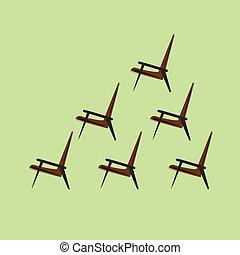 brun, sätta, lätt, vektor, bakgrund, stol