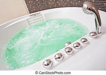 brun, salle bains, tourbillonner, eau, jacuzzi, mosaïque