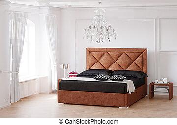 brun, salle, lit, dormir